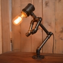Industrial 12.6''W Pipe Table Lamp in Open Bulb Style, Black