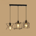 Industrial 20''W Multi Light Pendant with 3 Light and Metal Cage Frame in Black