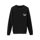 Funny Smoking Alien Pattern Round Neck Long Sleeves Pullover Sweatshirt