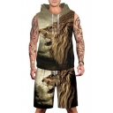 Men's Trendy Lion Print Sleeveless Hoodie with Sports Shorts