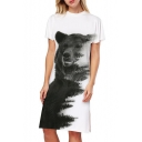Simple Bear Forest Print Crew Neck Short Sleeve Split Side Midi T-shirt Dress