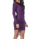 New Trendy Round Neck Long Sleeve Plain Mini Bodycon Party Dress