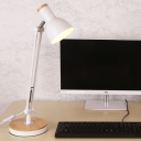 Industrial 18''H Desk Lamp with Metal Shade and Wooden Lamp Base in Black/White