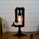 Industrial Vintage 21.6''H Table Lamp with Valve in Pipe Style, Black