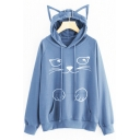Lovely Pets Pattern Long Sleeve Loose Leisure Hoodie with Pocket