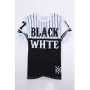 Trendy Monochrome Letter Color Block Print Round Neck Short Sleeves Casual Tee
