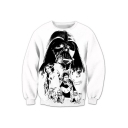 Digital Character Printed Round Neck Long Sleeve Pullover Sweatshirt