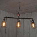 Industrial Vintage 3 Light Island Light with Metal Cage in Pipe Style, 28''W