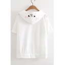 Girlish Cartoon Cat Pattern Paw Drawstring Ear Detail Hooded Tee with Pocket