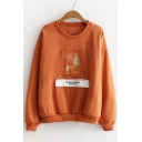 Chic Patched Cartoon Letter Graphic Pattern Round Neck Long Sleeves Pullover Sweatshirt