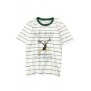 Trendy Striped Cartoon Duck Letter Printed Round Neck Short Sleeves Casual Tee