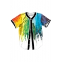 Trendy Colorful Color Block Paint Print Button Front Short Sleeve Baseball Tee