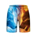 Popular Flame Ice Wolf Print Drawstring Waist Sports Shorts