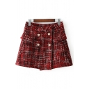 New Stylish Check Pattern Double Breasted A-Line Mini Skirt