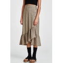 Chic Plaid Elastic Waist Buttons Down Asymmetric Hem Midi Skirt