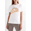 Fancy Croissant Bread Letter Print Round Neck Short Sleeves Summer Tee