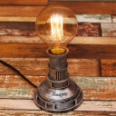 Industrial Vintage Desk Lamp in Pipe Style, Antique Silver