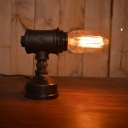 Industrial Vintage Mini Desk Lamp with Pipe Lamp Base in Open Bulb Style
