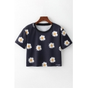 Summer Fashion Floral Daisy Print Round Neck Short Sleeves Cropped Tee