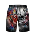 Cool Tiger Floral Skull Print Drawstring Waist Sports Shorts