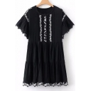 Fashion Embroidered Pattern Round Neck Short Sleeve Dress with Cami