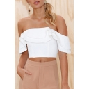Chic Off The Shoulder Short Sleeve Plain Ruffle Hem Cropped Tee