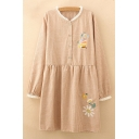 Girlish Floral Butterfly Embroidered Gingham Plaids Button Detail Smock Mini Dress