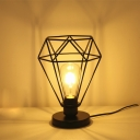 Industrial 7.8''W Table Lamp with Diamond Metal Cage in Black Finish