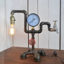 Industrial 12.6''W Table Lamp with Pipe Lamp Base in Vintage Style, Black