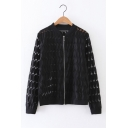 Leaves Lace Stand Up Collar Long Sleeve Zip Up Baseball Jacket