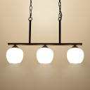 Industrial 3 Light Island Light with Globe Glass Shade in Nordical Style, 28''W