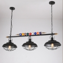 Industrial 47''W Island Light with Metal Shade and Metal Cage Frame in Black, 3 Light
