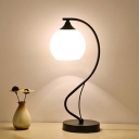 Industrial Nordical Table Lamp with 6''W Globe Glass Shade in White