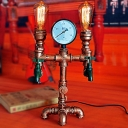 Industrial Vintage 2 Light Table Lamp with Pipe Lamp Base in Open Bulb Style, Rust