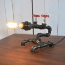 Industrial Vintage 13''W Table Lamp with Pipe Lamp Base in Black