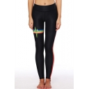 Fine Design Rainbow Striped Pattern Elastic Waist Slim-Fit Workout Leggings