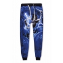 Hot Fashion Skull Skeleton Lightning Print Drawstring Waist Joggers