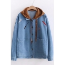 Cool Letter Fish Embroidery Color Block Patchwork Button Down Denim Jacket