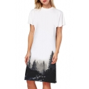 Monochrome Forest Print Crew Neck Short Sleeve Split Side Midi T-shirt Dress