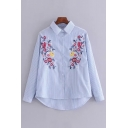 Fashionable Floral Embroidered Striped Pattern High Low Hem Long Sleeve Shirt