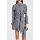 Chic Plaid Print Asymmetric Hem Long Sleeve Belt Waist Shirt Dress