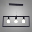 Industrial 3 Light Island Light with Metal Frame in Open Bulb Style, 24.8''W