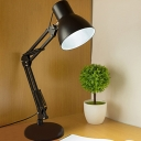 Industrial LED Desk Lamp with USB Charging and Adjustable Fixture Arm in Black