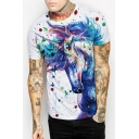 Fashionable Unicorn Painting Print Round Neck Short Sleeves Casual Tee
