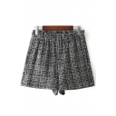 New Stylish Check Print Elastic Waist Print Shorts