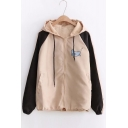 Top Fashion Dog Cat Cartoon Pattern Zip Up Hooded Color Block Outdoor Jacket
