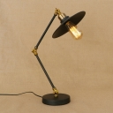 Industrial Vintage Desk Lamp with Adjustable Fixture Arm and Saucer Metal Shade, Black