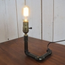 Industrial 6''W Desk Lamp with Pipe Lamp Base in Open Bulb Style