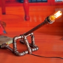 Industrial Vintage 22.8''W Table Lamp with Pipe Lamp Base in Rust Finish