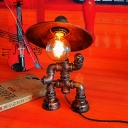 Industrial Vintage Table Lamp with Saucer Metal Shade in Rust Finish